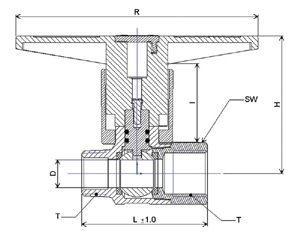 SHA 200 Ball Valve drawing